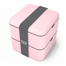 MONBENTO Square Collection Litchi - pastelowo różowy lunchbox